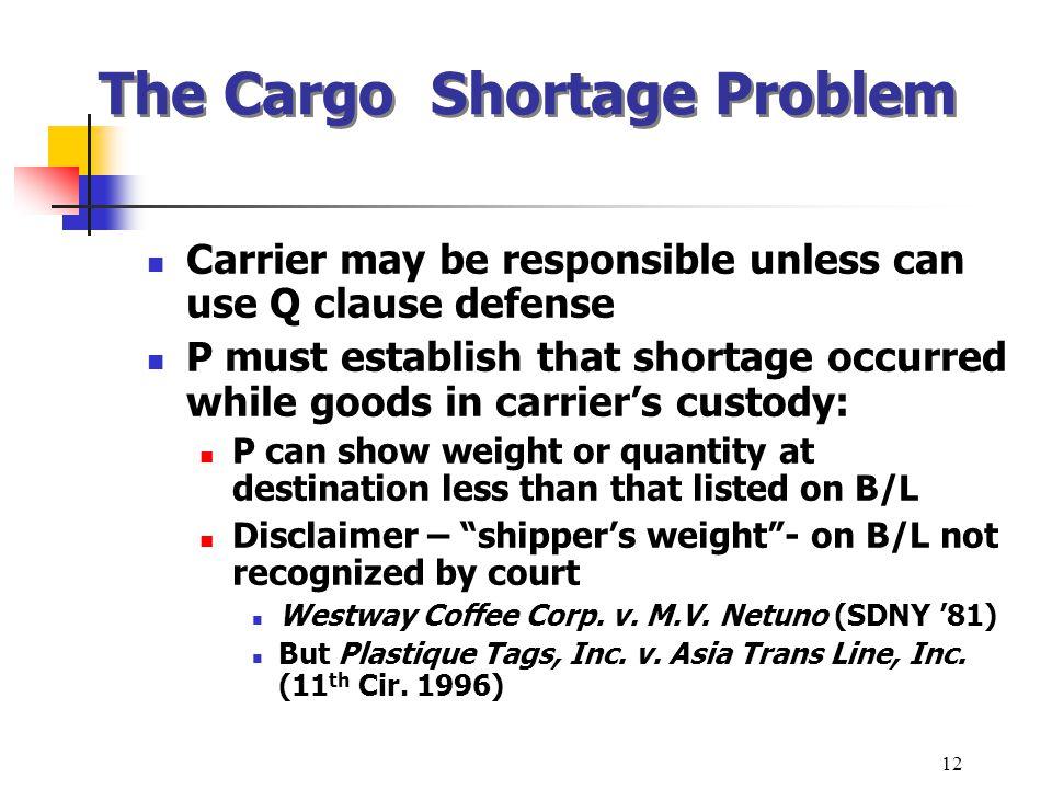 The Cargo Shortage Problem