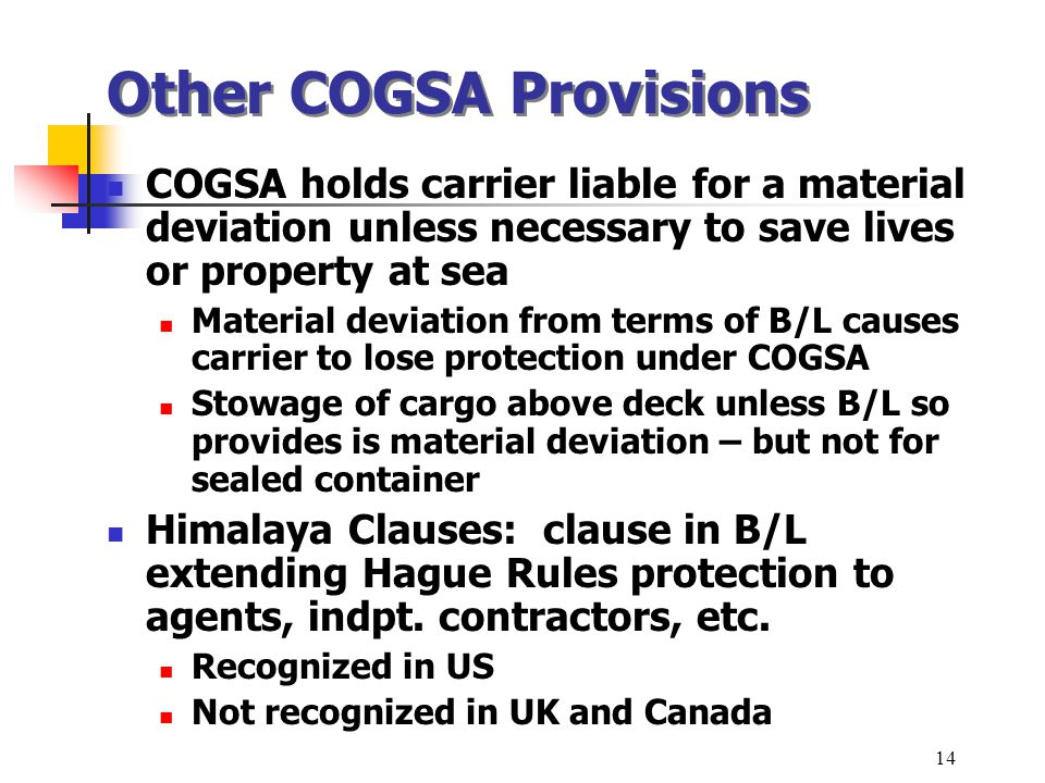 Other COGSA Provisions
