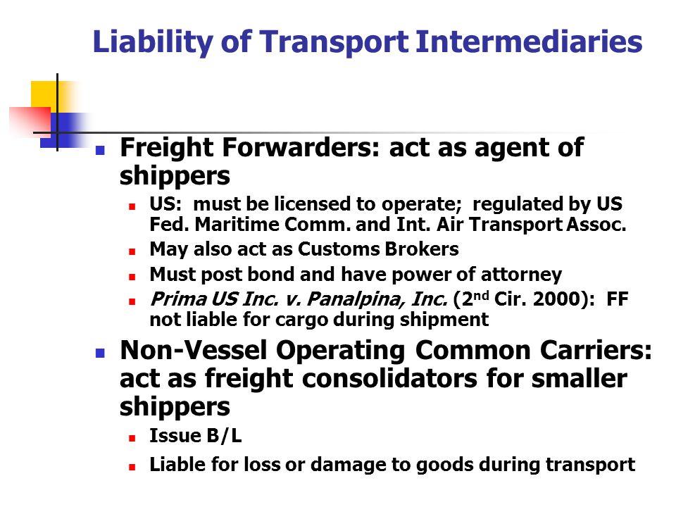 Liability of Transport Intermediaries