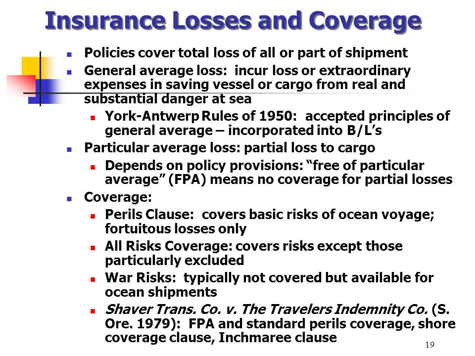 Insurance Losses and Coverage