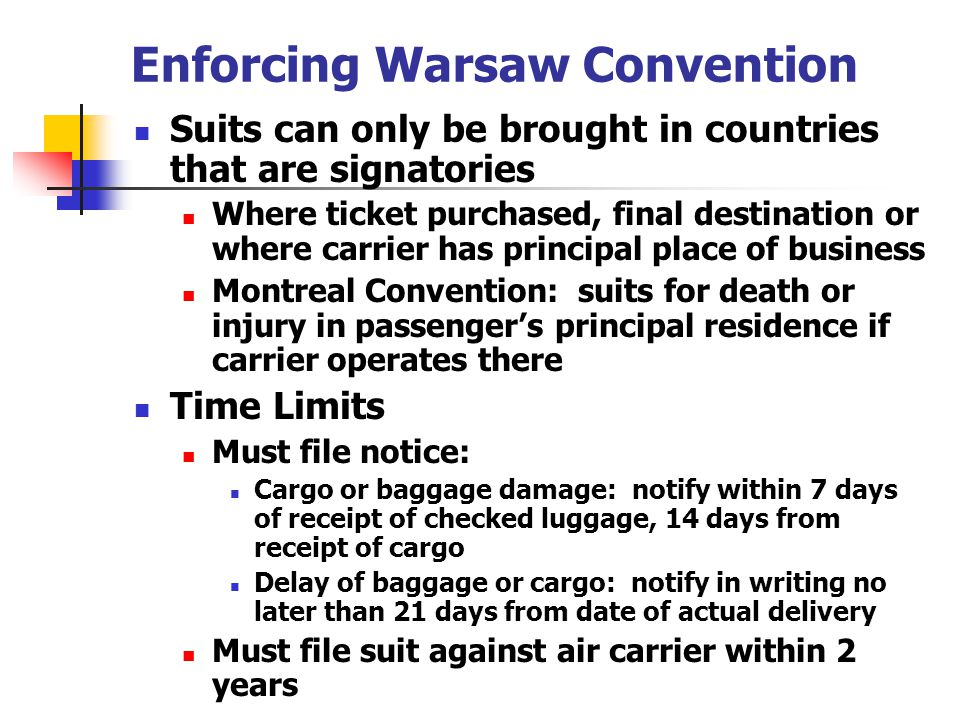 Enforcing Warsaw Convention