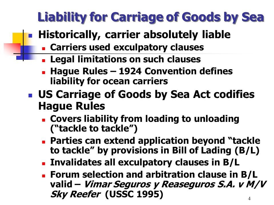 Liability for Carriage of Goods by Sea