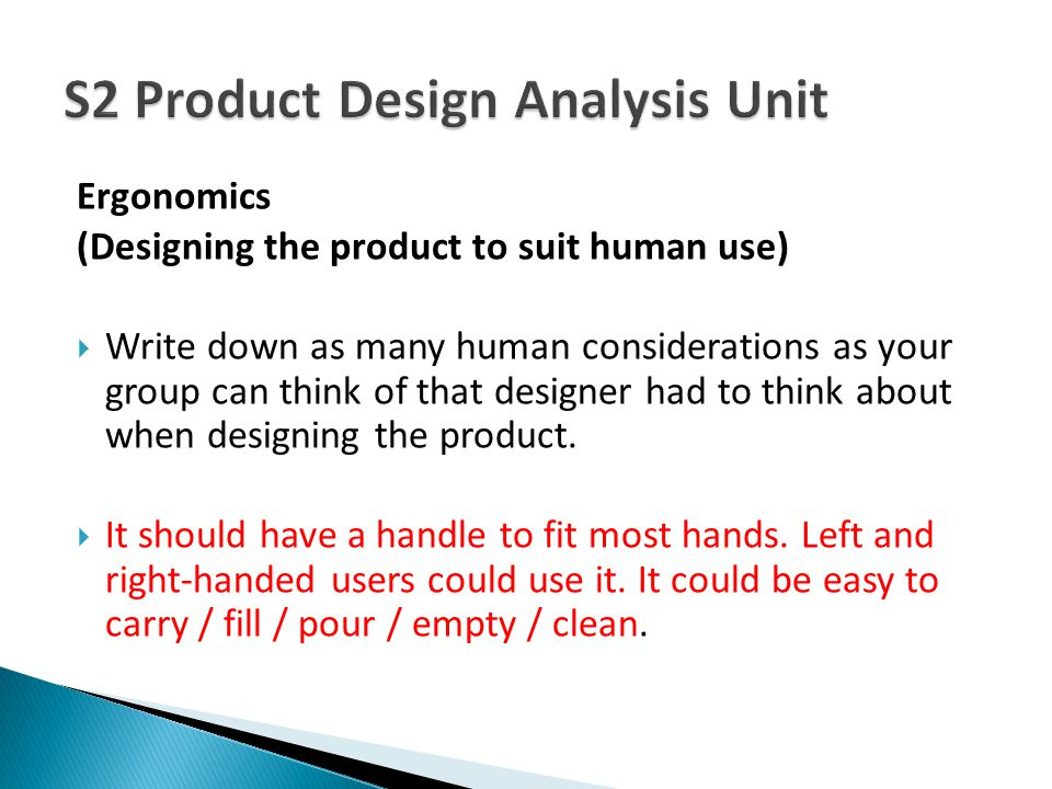 S2 Product Design Analysis Unit