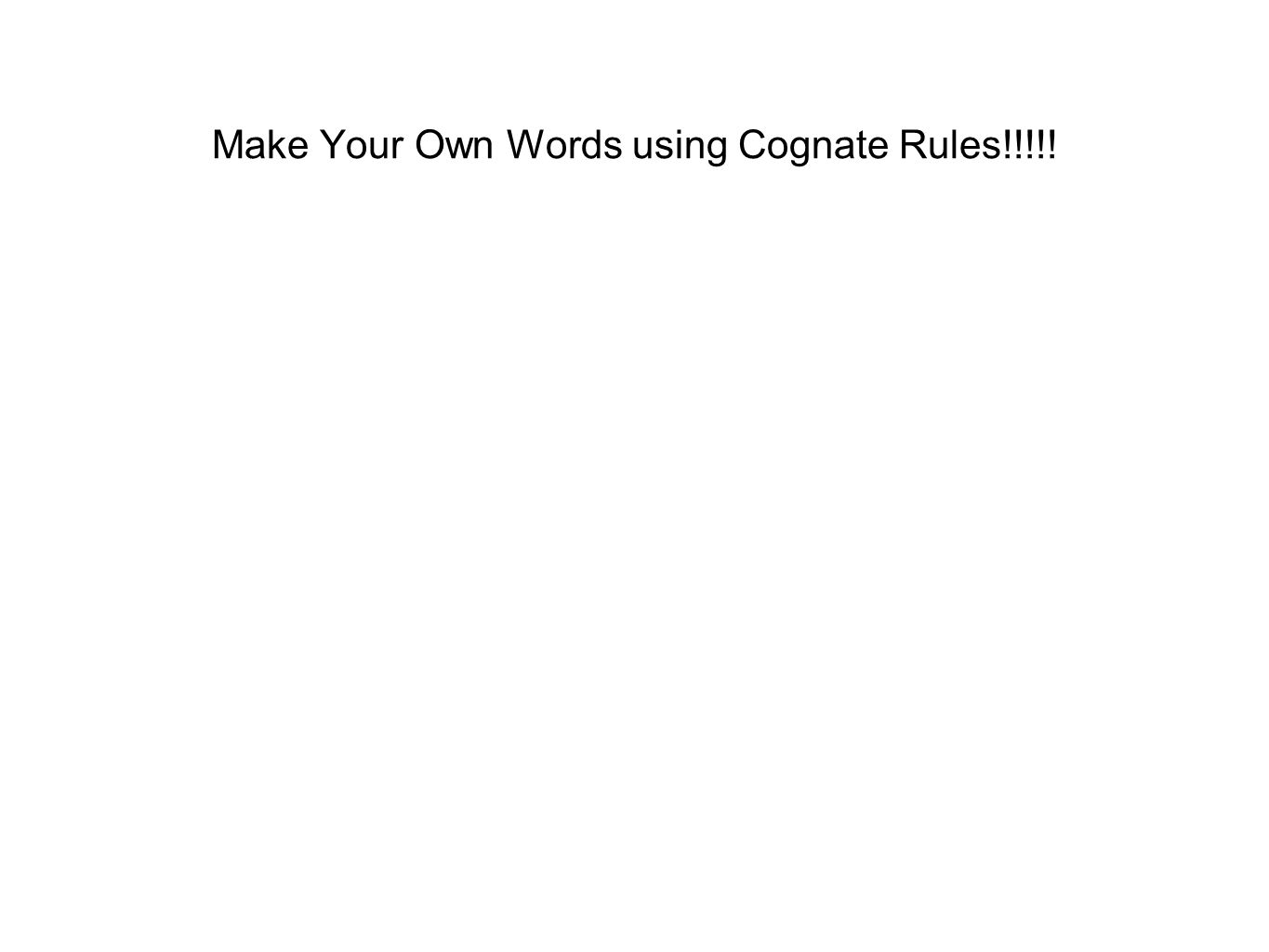 Make Your Own Words using Cognate Rules!!!!!