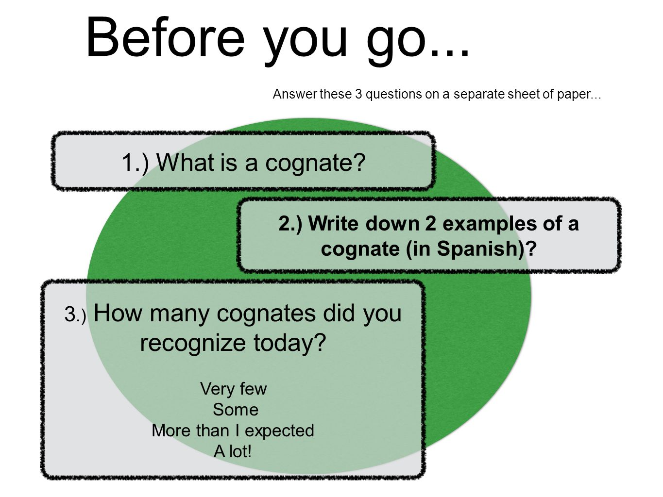 2.) Write down 2 examples of a cognate (in Spanish)