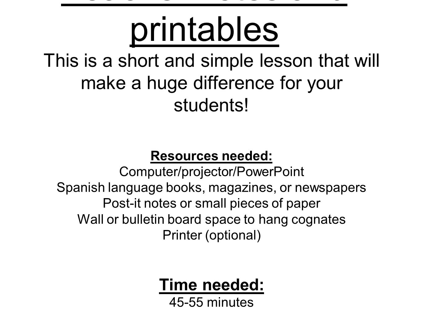 Teacher notes and printables