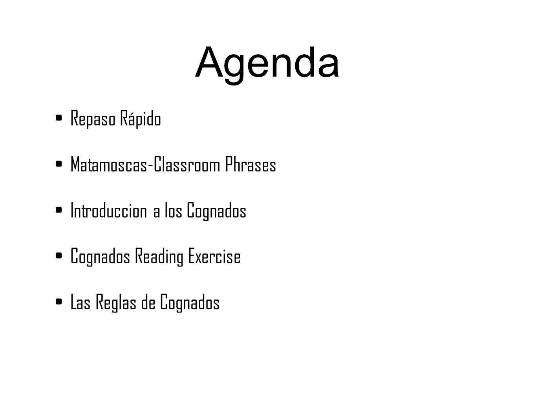 Agenda Repaso Rápido Matamoscas-Classroom Phrases