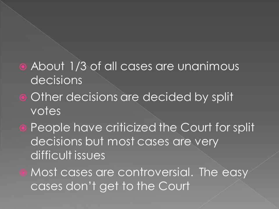 About 1/3 of all cases are unanimous decisions
