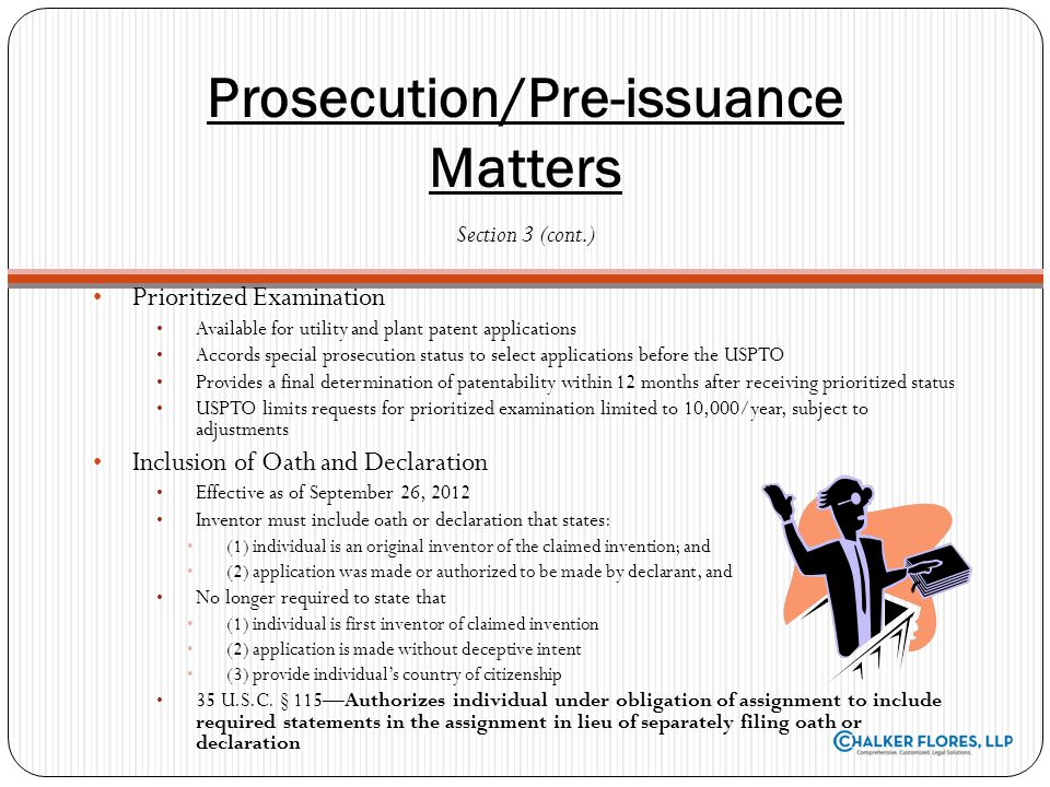 Prosecution/Pre-issuance Matters