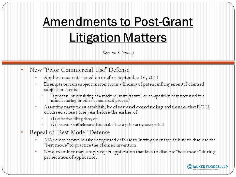 Amendments to Post-Grant Litigation Matters
