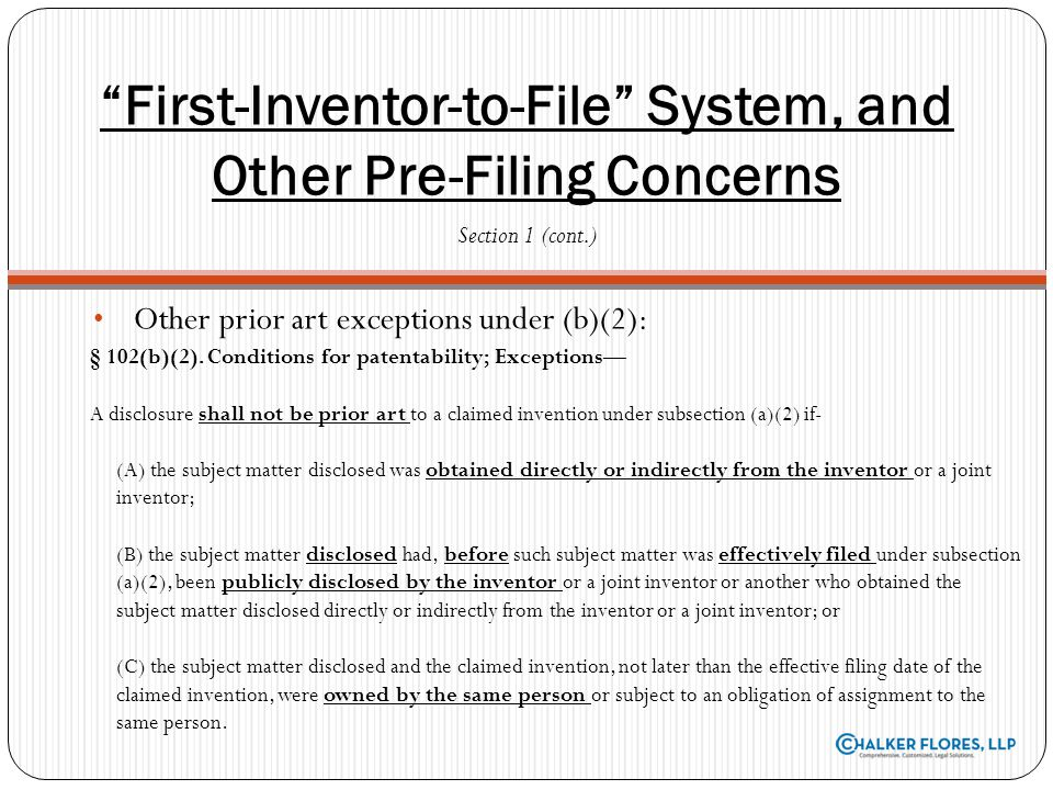 First-Inventor-to-File System, and Other Pre-Filing Concerns