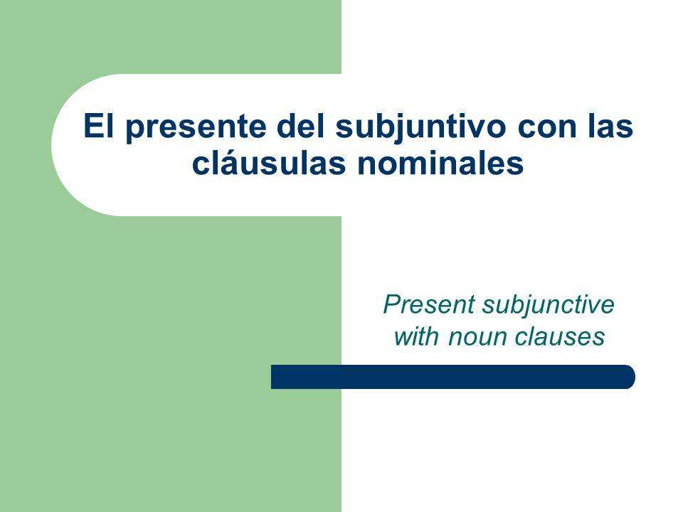 El presente del subjuntivo con las cláusulas nominales