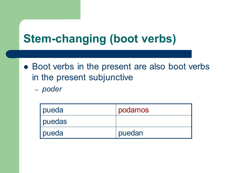 Stem-changing (boot verbs)