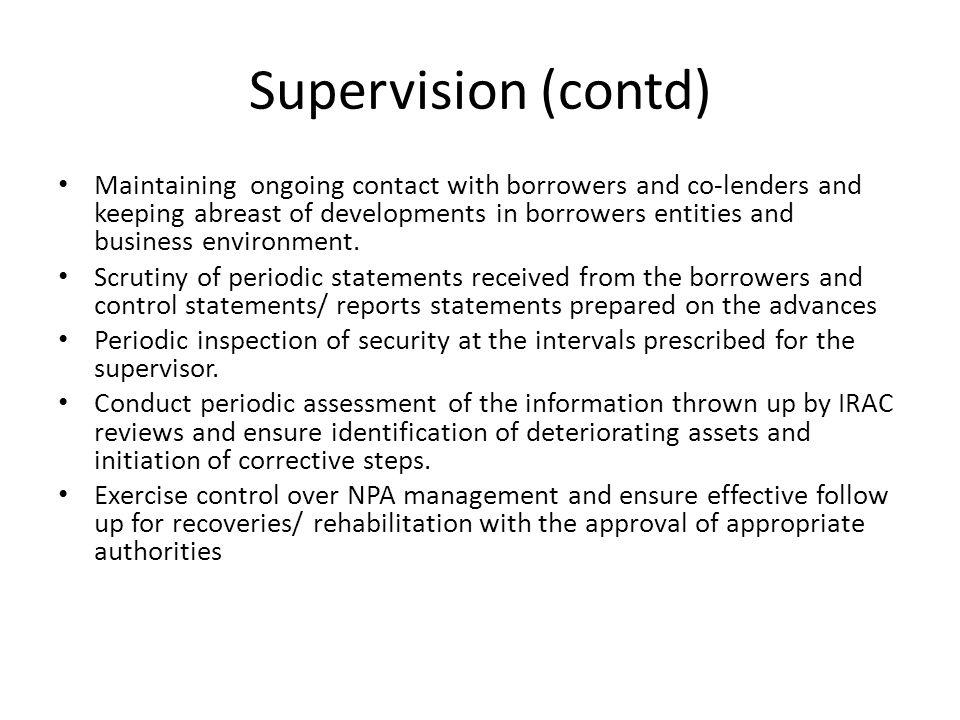 Supervision (contd)