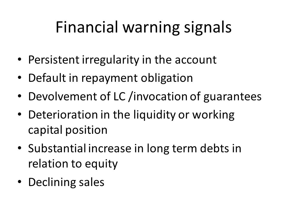Financial warning signals