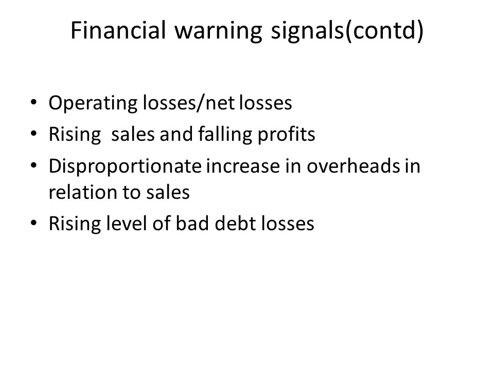 Financial warning signals(contd)