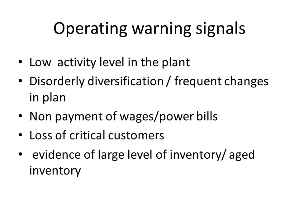 Operating warning signals