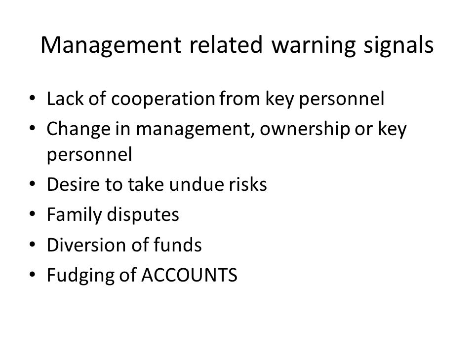 Management related warning signals