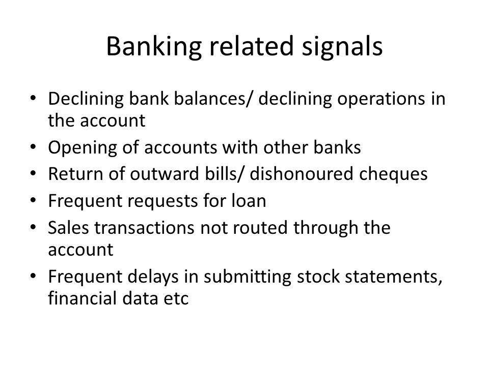 Banking related signals