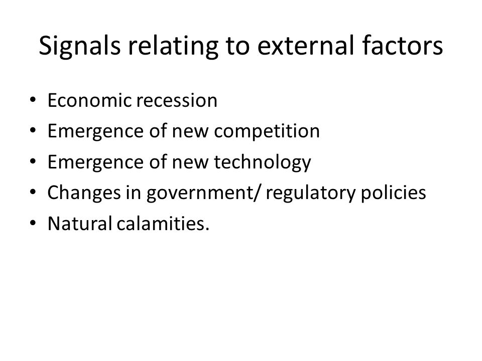 Signals relating to external factors