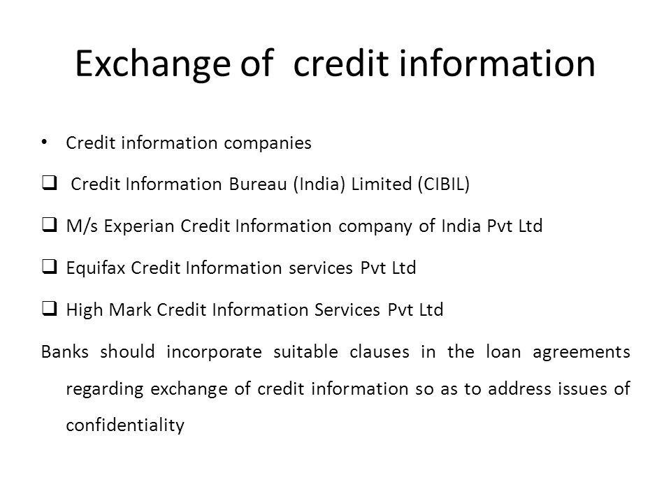 Exchange of credit information