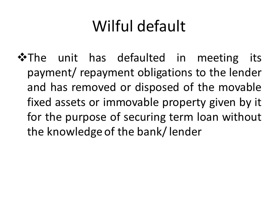 Wilful default