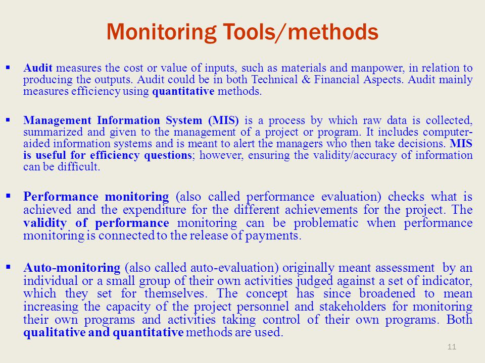 Monitoring Tools/methods