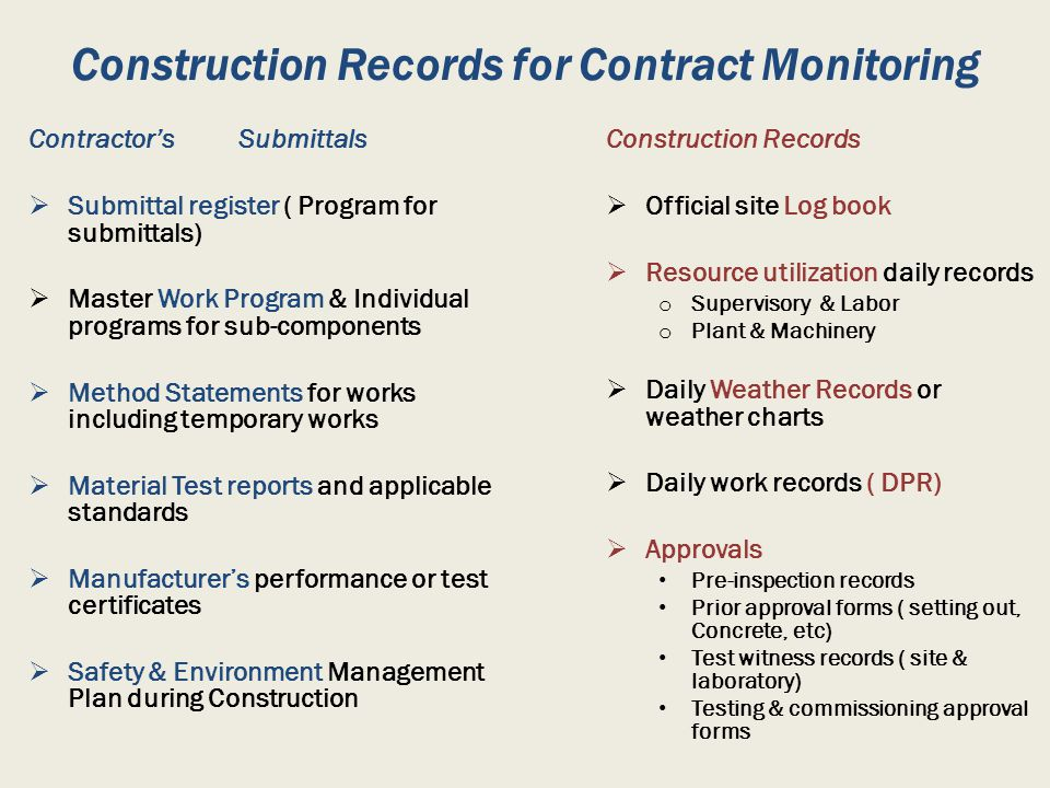 Construction Records for Contract Monitoring
