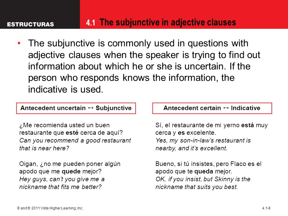 Antecedent uncertain ➙ Subjunctive