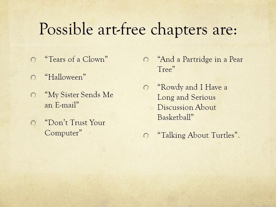 Possible art-free chapters are: