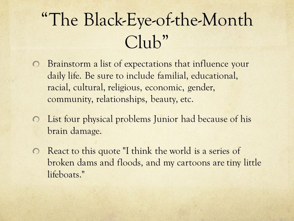 The Black-Eye-of-the-Month Club