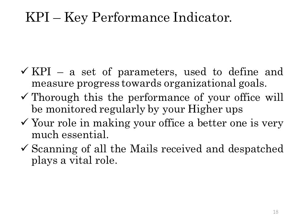 KPI – Key Performance Indicator.