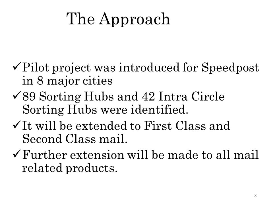 The Approach Pilot project was introduced for Speedpost in 8 major cities. 89 Sorting Hubs and 42 Intra Circle Sorting Hubs were identified.