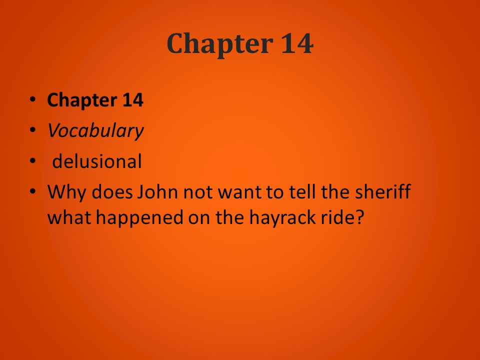 Chapter 14 Chapter 14 Vocabulary delusional