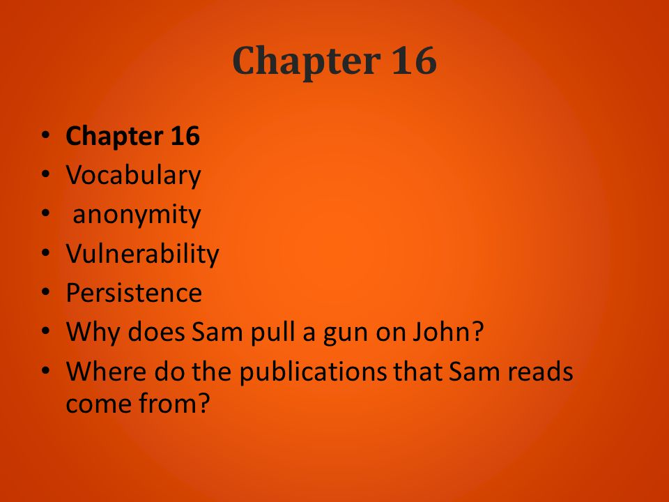 Chapter 16 Chapter 16 Vocabulary anonymity Vulnerability Persistence
