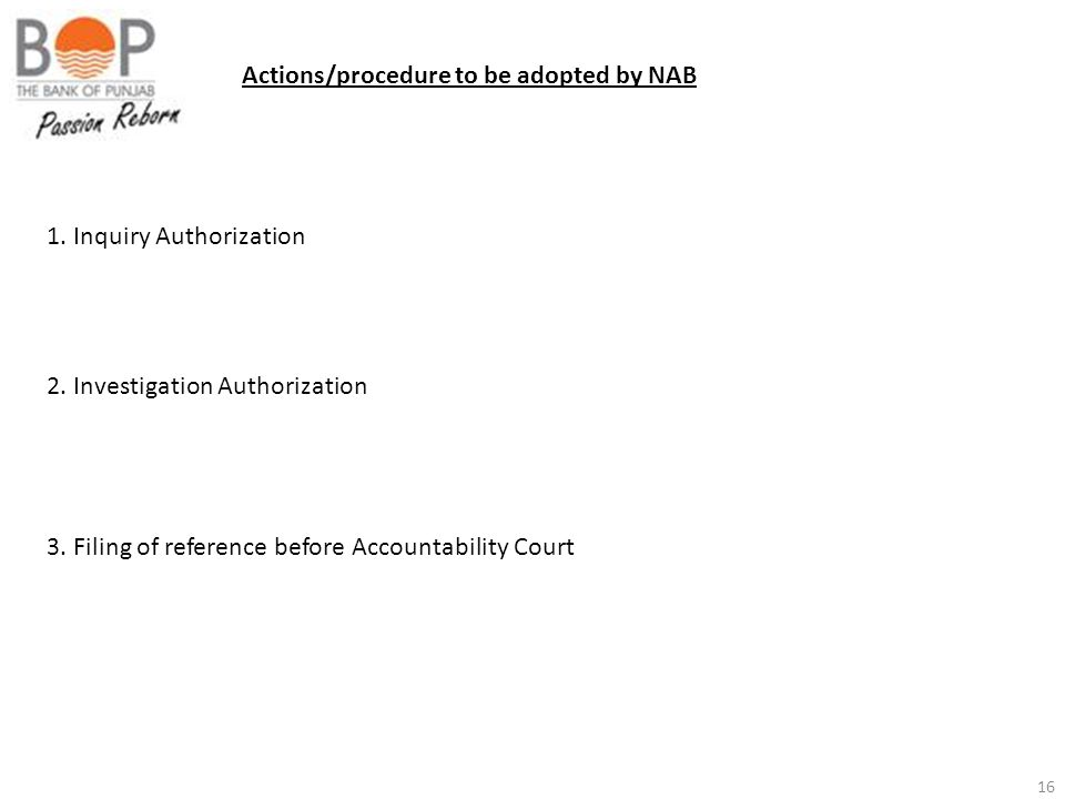 Actions/procedure to be adopted by NAB