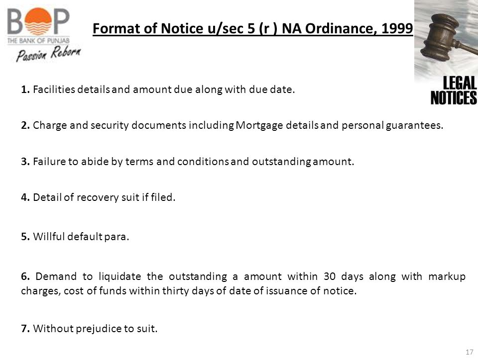 Format of Notice u/sec 5 (r ) NA Ordinance, 1999