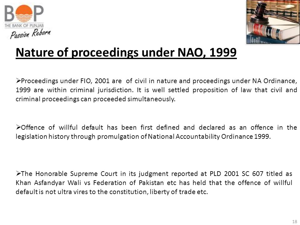 Nature of proceedings under NAO, 1999