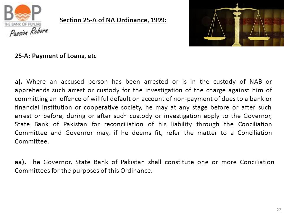 Section 25-A of NA Ordinance, 1999: