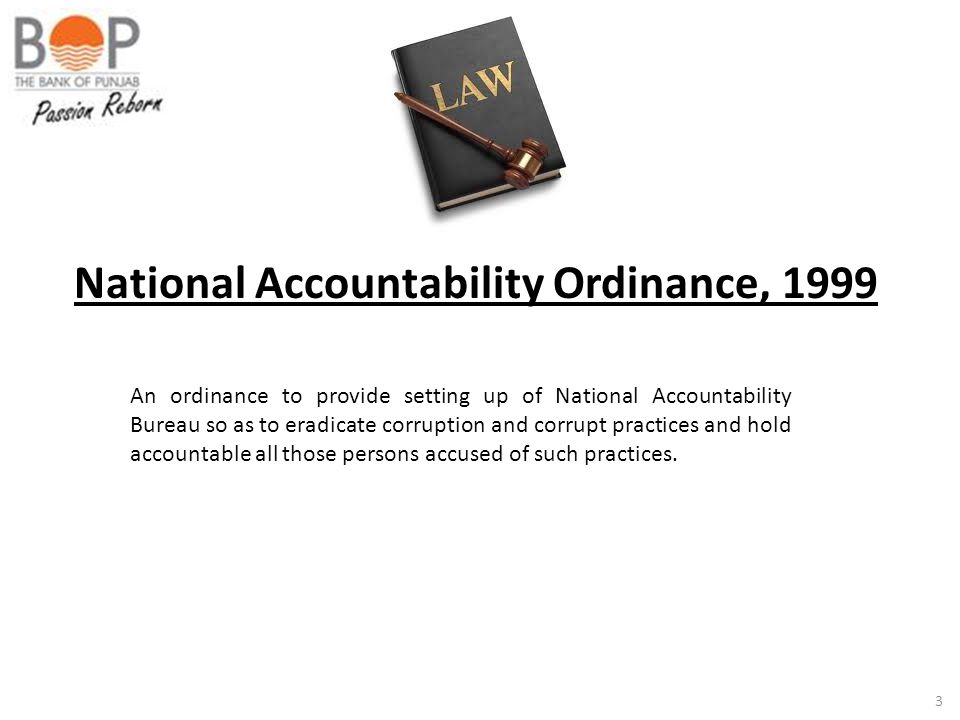 National Accountability Ordinance, 1999
