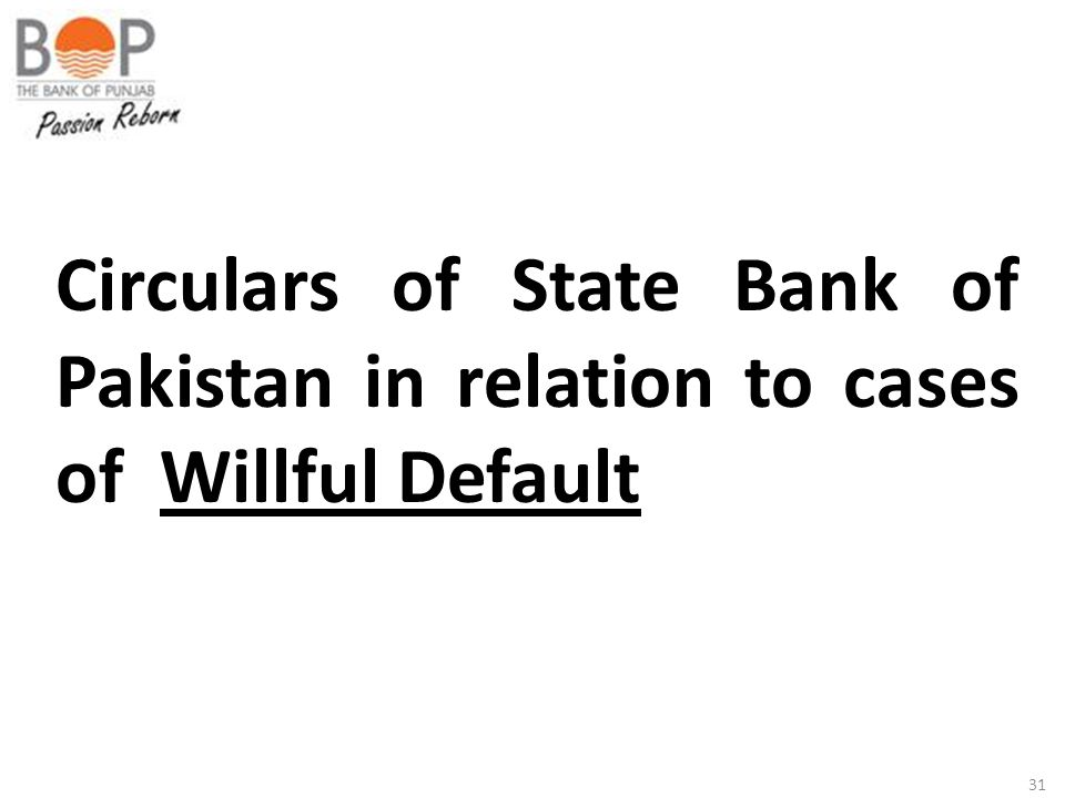Circulars of State Bank of Pakistan in relation to cases of Willful Default