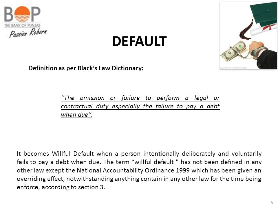 DEFAULT Definition as per Black's Law Dictionary: