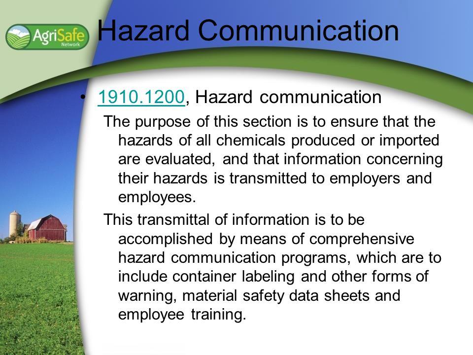 Hazard Communication 1910.1200, Hazard communication