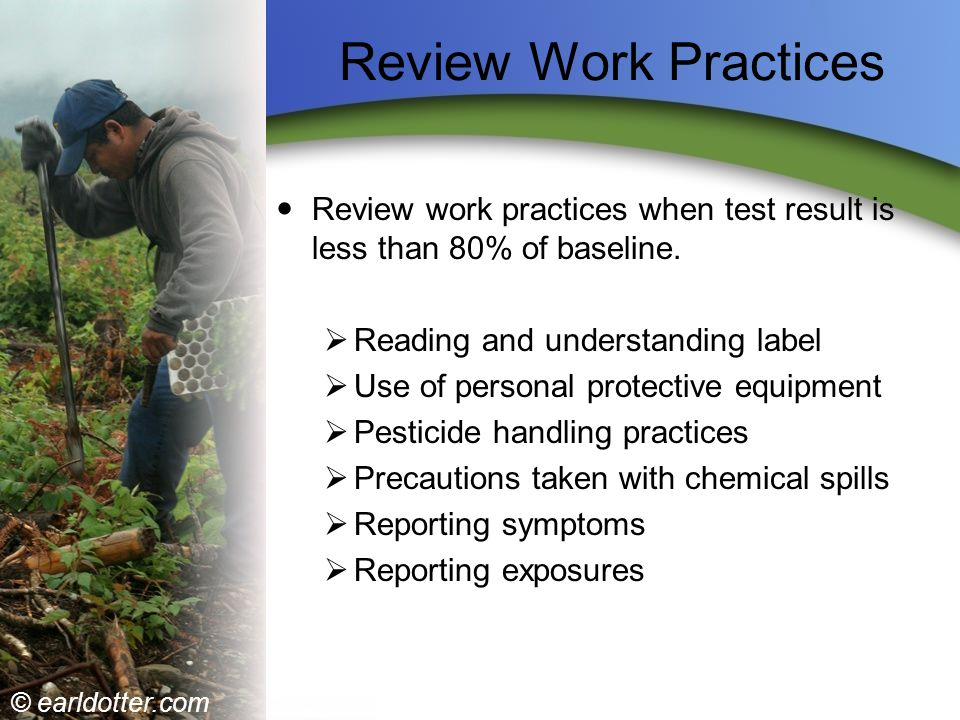 Review Work Practices Review work practices when test result is less than 80% of baseline. Reading and understanding label.