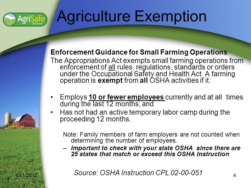 Agriculture Exemption