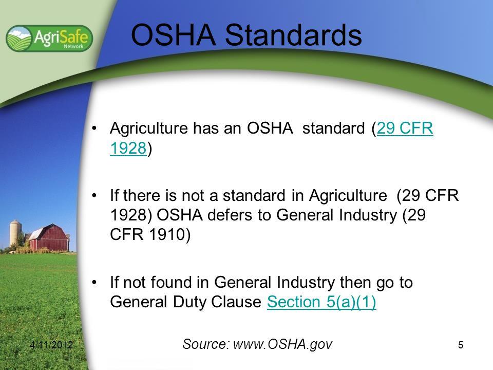 OSHA Standards Agriculture has an OSHA standard (29 CFR 1928)