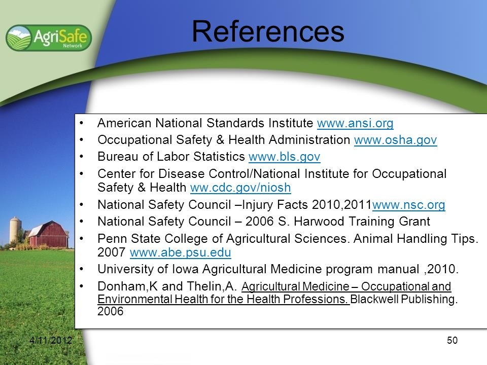 References American National Standards Institute www.ansi.org