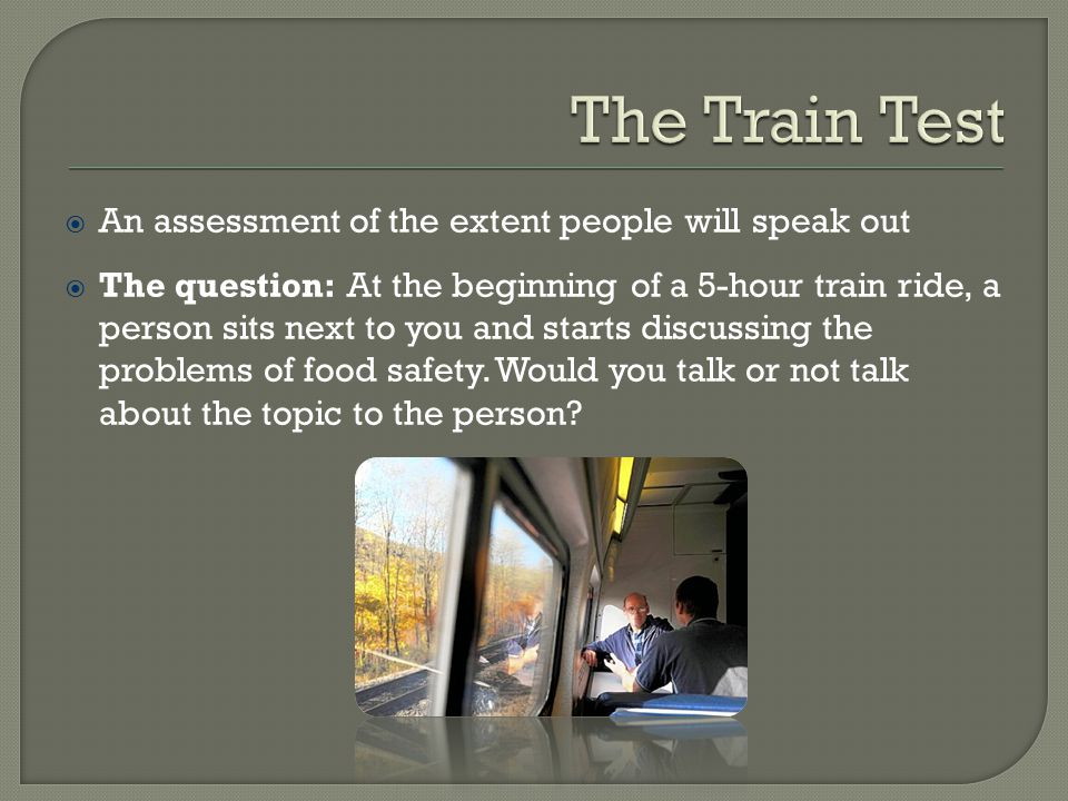 The Train Test An assessment of the extent people will speak out