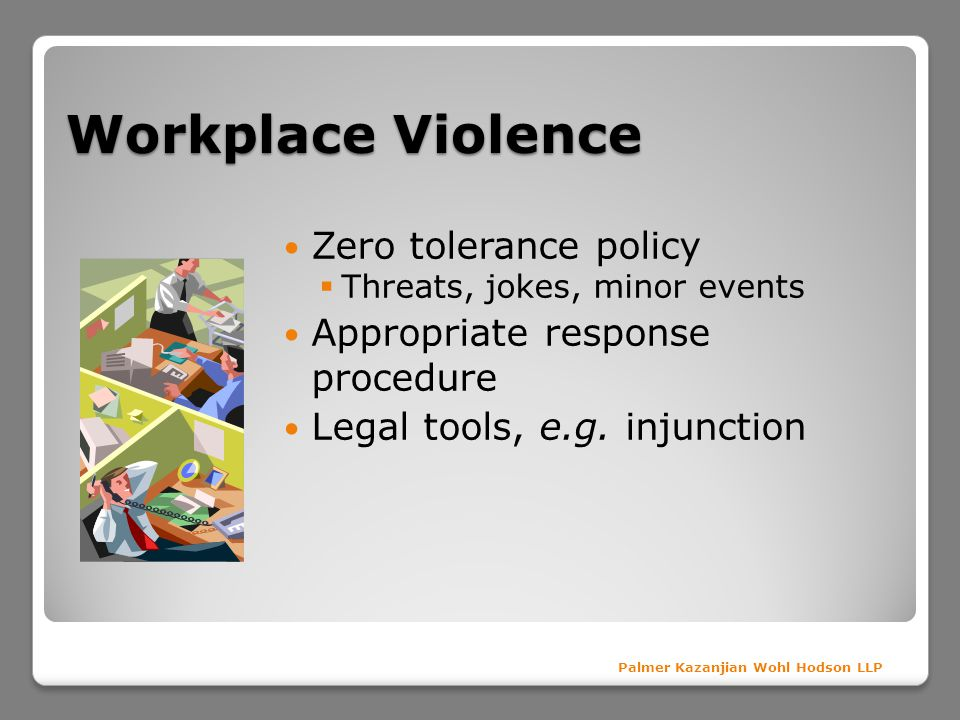 Workplace Violence Zero tolerance policy