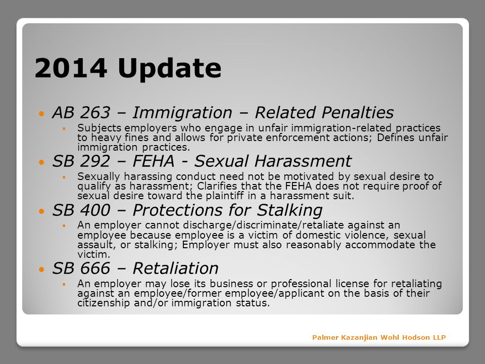 2014 Update AB 263 – Immigration – Related Penalties